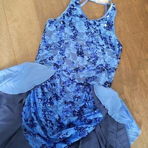 Dance costume halter top blue child XL